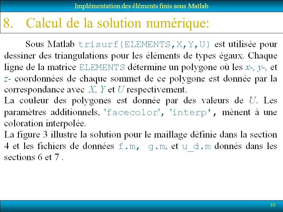35 Implémentation des éléments finis sous Matlab 8.Calcul de la solution numérique: