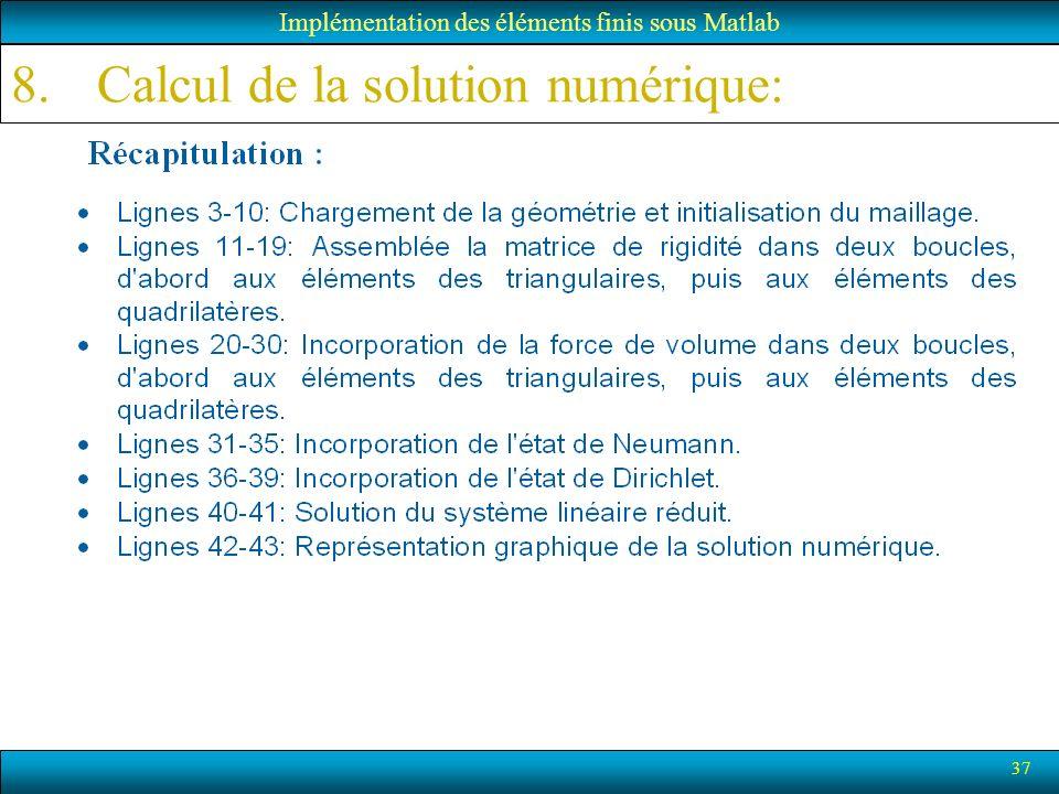37 Implémentation des éléments finis sous Matlab 8.Calcul de la solution numérique:
