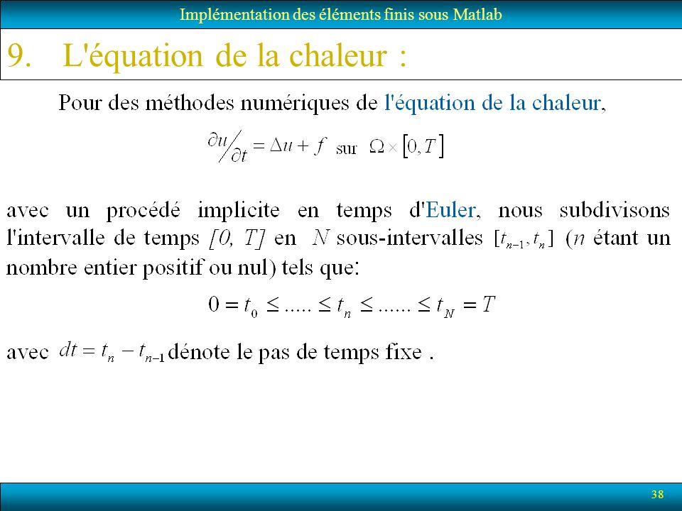 38 9.L'équation de la chaleur : Implémentation des éléments finis sous Matlab