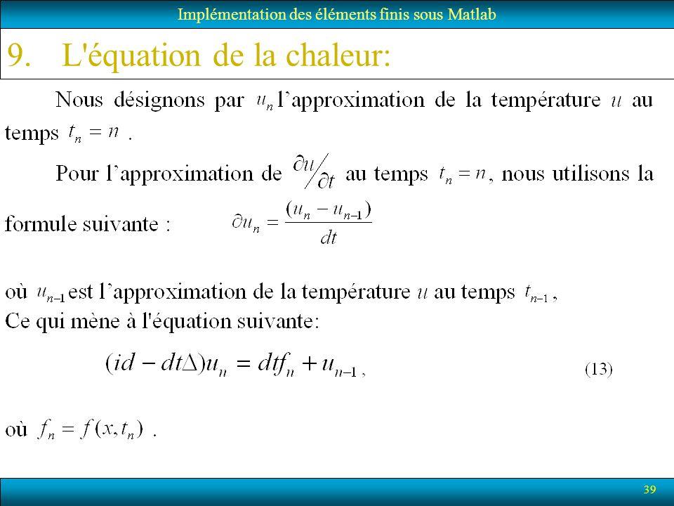 39 Implémentation des éléments finis sous Matlab 9.L'équation de la chaleur: