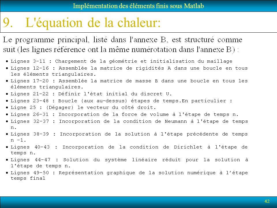 42 Implémentation des éléments finis sous Matlab 9.L'équation de la chaleur:
