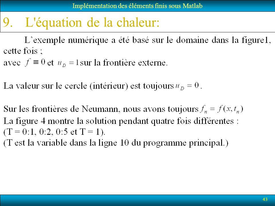 43 Implémentation des éléments finis sous Matlab 9.L'équation de la chaleur: