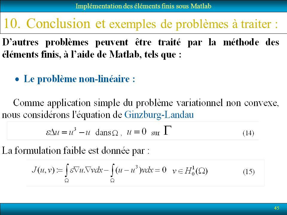 45 10.Conclusion et exemples de problèmes à traiter : Implémentation des éléments finis sous Matlab