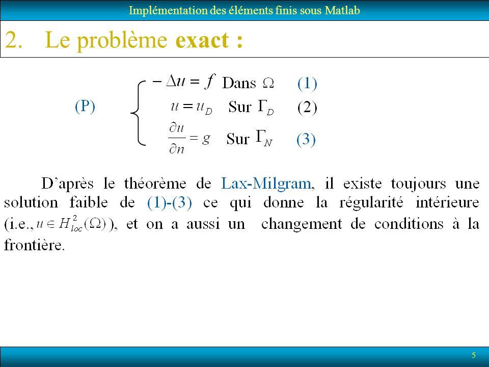 6 2.Le problème exact (Pb variationnel): Implémentation des éléments finis sous Matlab