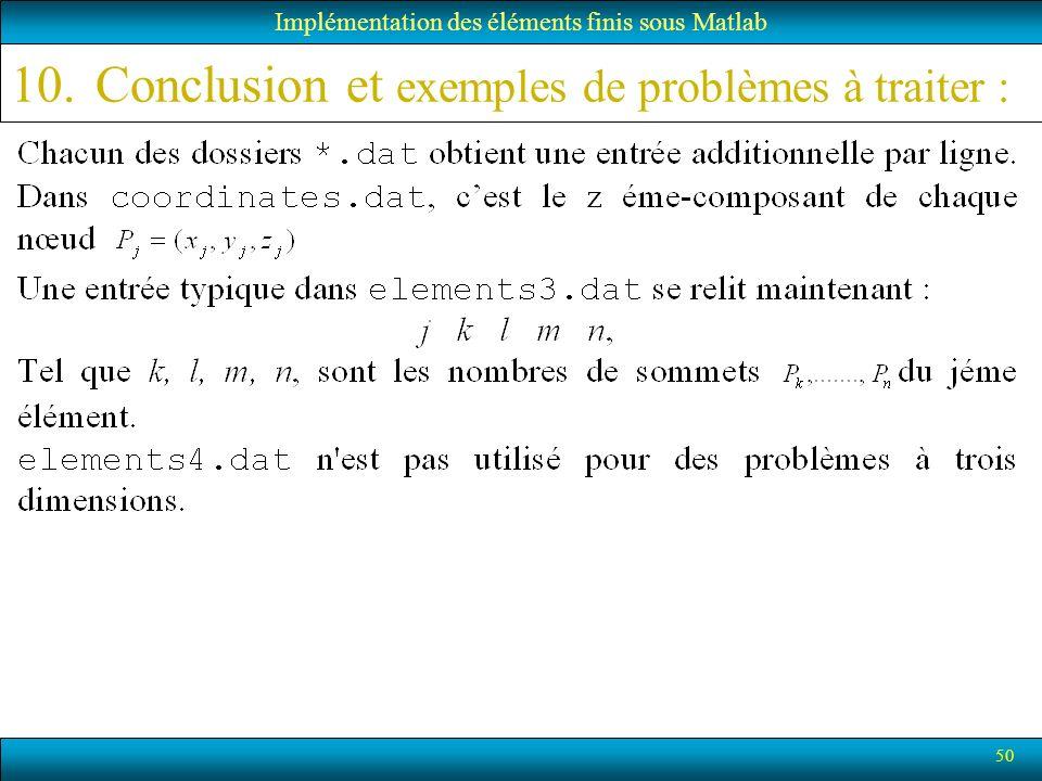 50 Implémentation des éléments finis sous Matlab 10.Conclusion et exemples de problèmes à traiter :