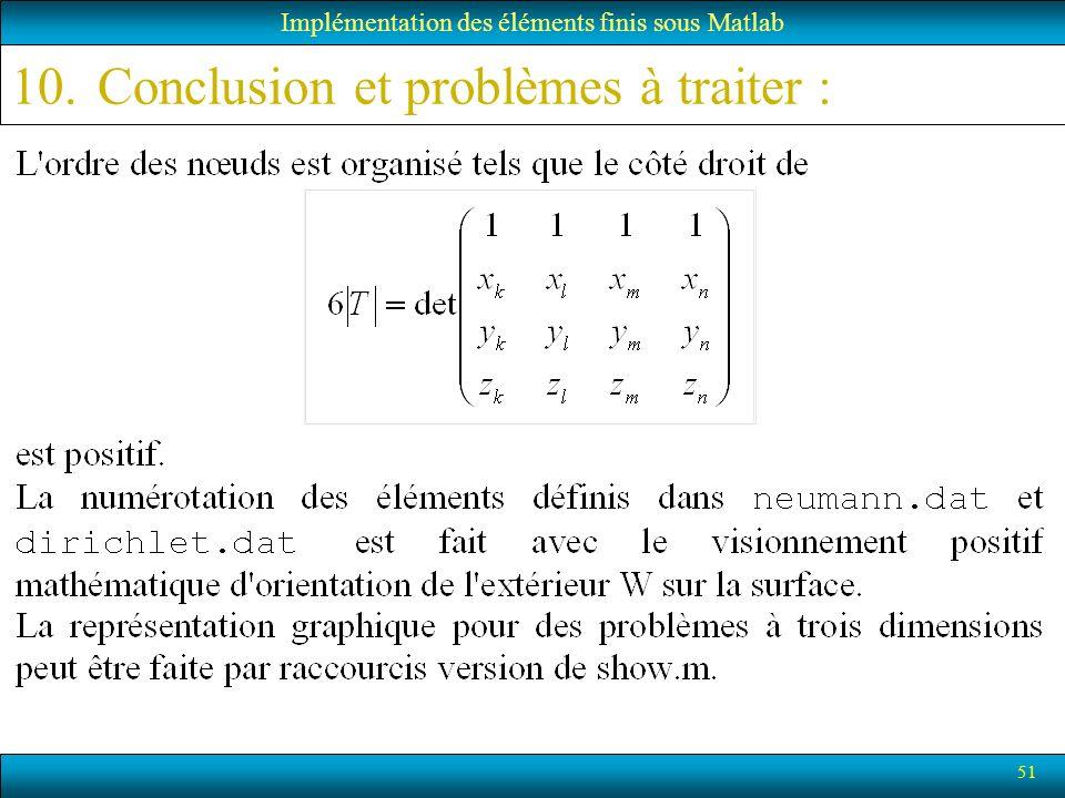 51 Implémentation des éléments finis sous Matlab 10.Conclusion et problèmes à traiter :
