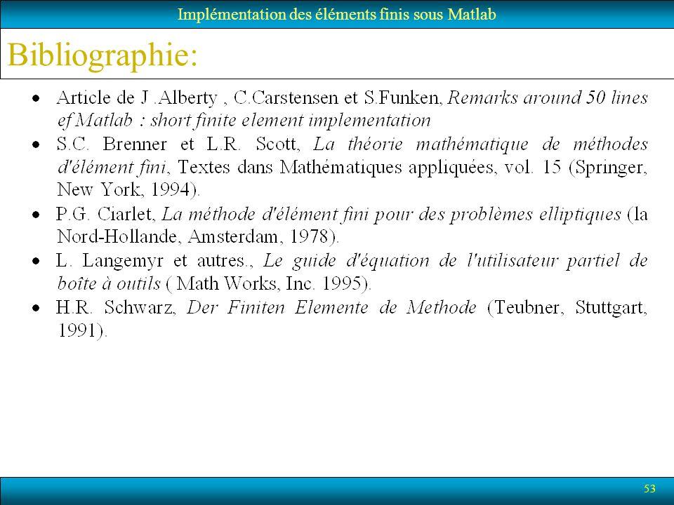 Bibliographie: 53 Implémentation des éléments finis sous Matlab