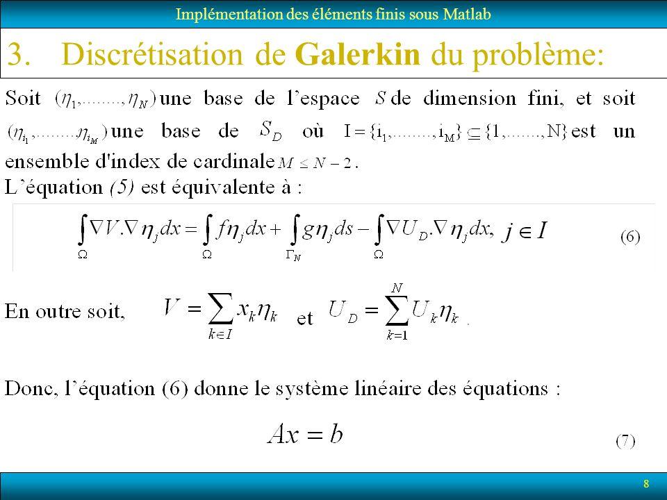 8 3.Discrétisation de Galerkin du problème: Implémentation des éléments finis sous Matlab