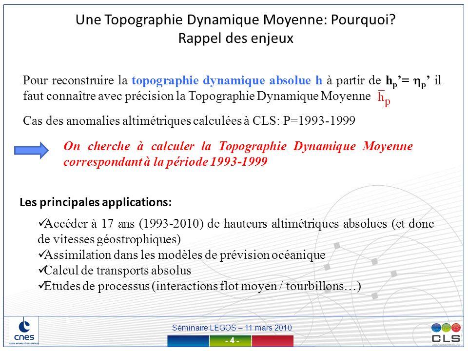 Séminaire LEGOS – 11 mars 2010 - 35 - Profils T,S = Hauteur dynamique par rapport à une profondeur de référence Pref Pour calculer une estimation de hauteur synthétique, il faut: Retirer la variabilité océanique due aux variations de densité jusquà Pref Ajouter une estimation de la TDM à Pref Coefficient à déterminerSLA Climatologie synthétique Type Levitus TDM grande échelle (=ébauche) Calcul des observations synthétiques de hauteur