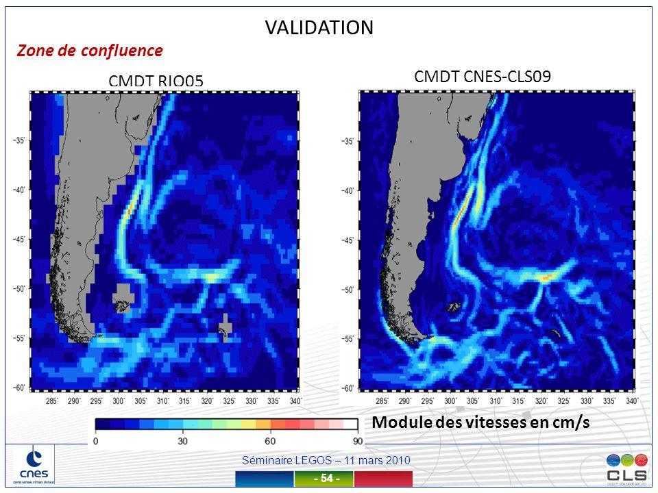 Séminaire LEGOS – 11 mars 2010 - 54 - CMDT CNES-CLS09 CMDT RIO05 VALIDATION Zone de confluence Module des vitesses en cm/s