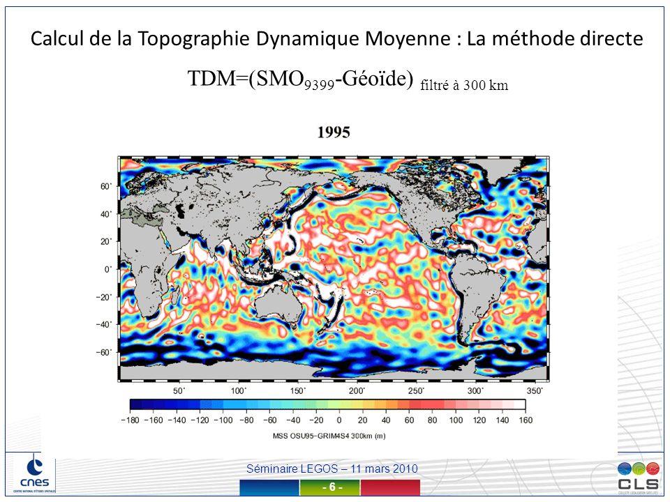 Séminaire LEGOS – 11 mars 2010 - 7 - Calcul de la Topographie Dynamique Moyenne : La méthode directe TDM=(SMO 9399 -Géoïde) filtré à 300 km