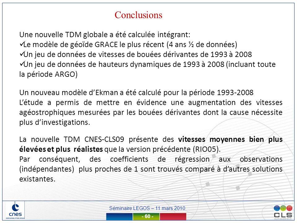 Séminaire LEGOS – 11 mars 2010 - 60 - Conclusions Une nouvelle TDM globale a été calculée intégrant: Le modèle de géoïde GRACE le plus récent (4 ans ½