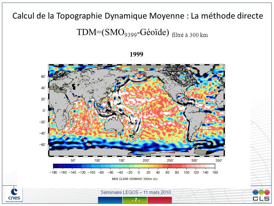Séminaire LEGOS – 11 mars 2010 - 18 - Propriétés statistiques des échelles de la TDM < 400km TDM GLORYS1V1 – (TDM GLORYS1V1) f400 Ecart-type calculée par bulles de 3° de rayon km Rayons de corrélation Rcx Rcy Calcul de la TDM par combinaison des données GRACE, altimétriques et in-situ