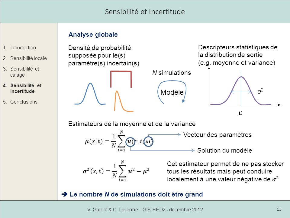 1.Introduction 2.Sensibilité locale 3.Sensibilité et calage 4.Sensibilité et incertitude 5.Conclusions V.