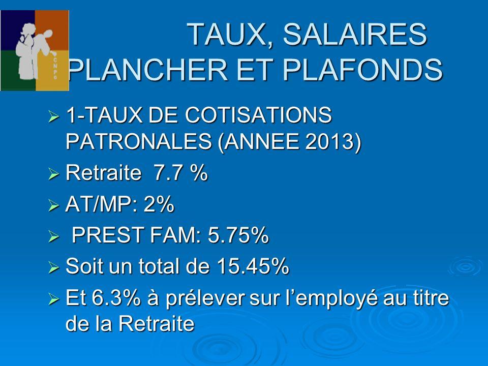 TAUX, SALAIRES PLANCHER ET PLAFONDS TAUX, SALAIRES PLANCHER ET PLAFONDS 1-TAUX DE COTISATIONS PATRONALES (ANNEE 2013) 1-TAUX DE COTISATIONS PATRONALES