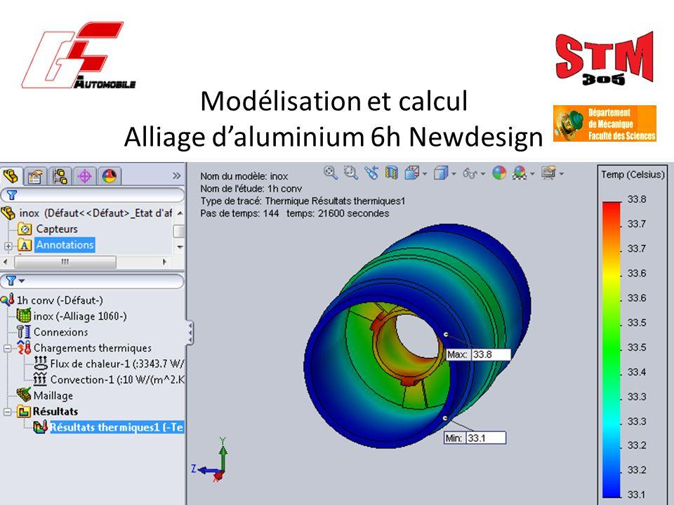 Modélisation et calcul Alliage daluminium 6h Newdesign
