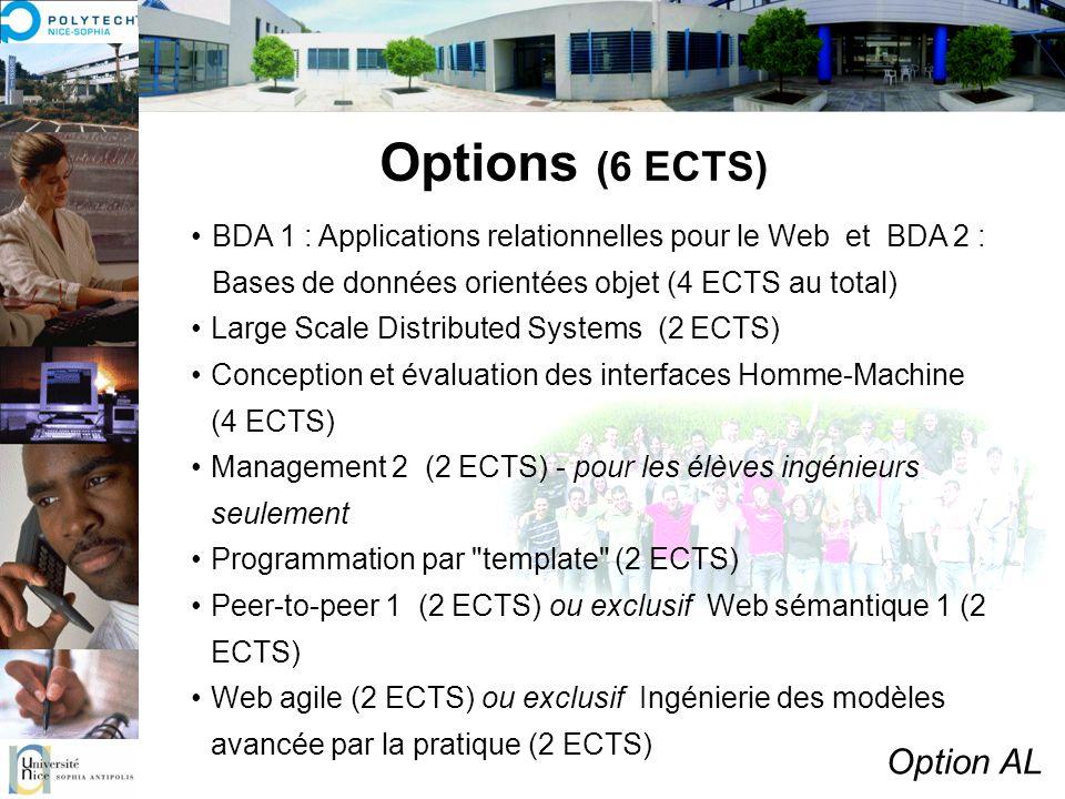 Options (6 ECTS) Option AL BDA 1 : Applications relationnelles pour le Web et BDA 2 : Bases de données orientées objet (4 ECTS au total) Large Scale D
