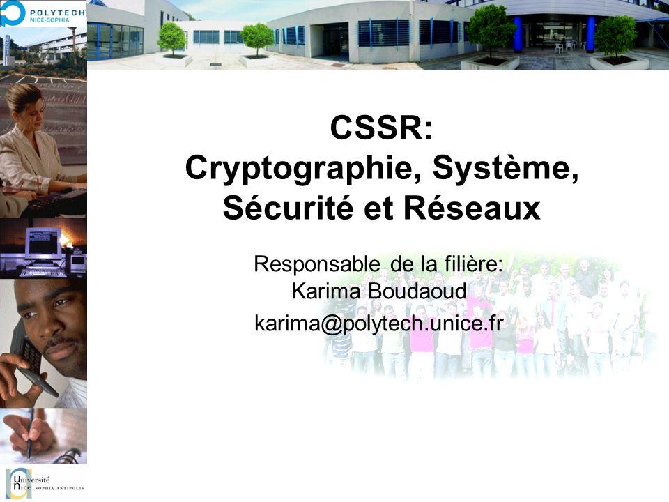 CSSR: Cryptographie, Système, Sécurité et Réseaux Responsable de la filière: Karima Boudaoud karima@polytech.unice.fr