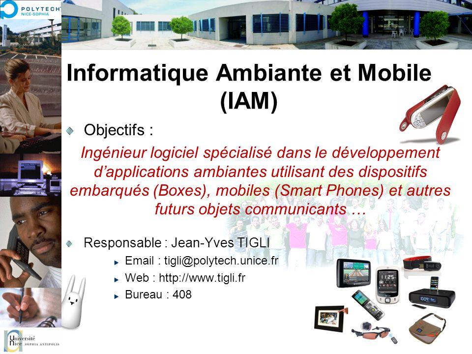 Informatique Ambiante et Mobile (IAM) Objectifs : Ingénieur logiciel spécialisé dans le développement dapplications ambiantes utilisant des dispositif