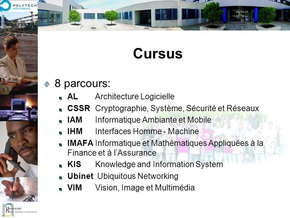 Cursus 8 parcours: ALArchitecture Logicielle CSSRCryptographie, Système, Sécurité et Réseaux IAMInformatique Ambiante et Mobile IHMInterfaces Homme -