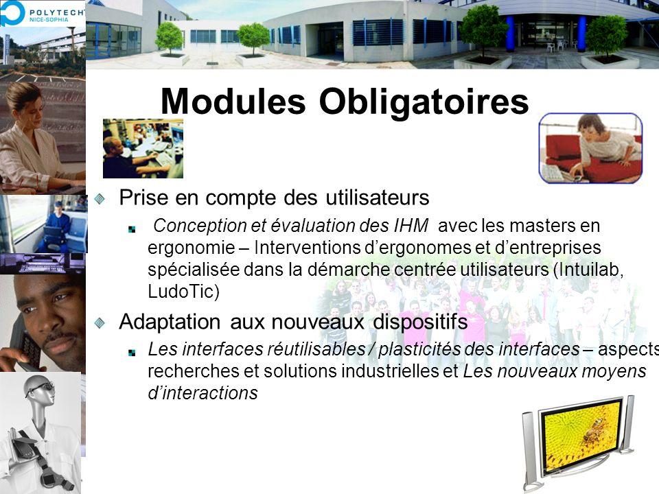 Modules Obligatoires Prise en compte des utilisateurs Conception et évaluation des IHM avec les masters en ergonomie – Interventions dergonomes et den