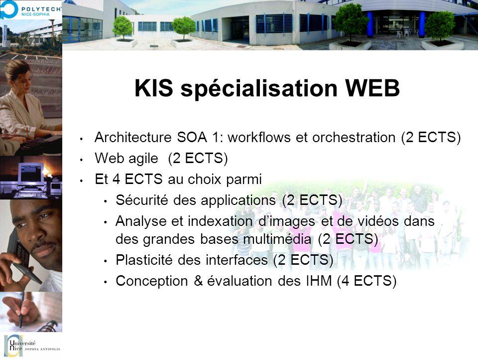 KIS spécialisation WEB Architecture SOA 1: workflows et orchestration (2 ECTS) Web agile (2 ECTS) Et 4 ECTS au choix parmi Sécurité des applications (