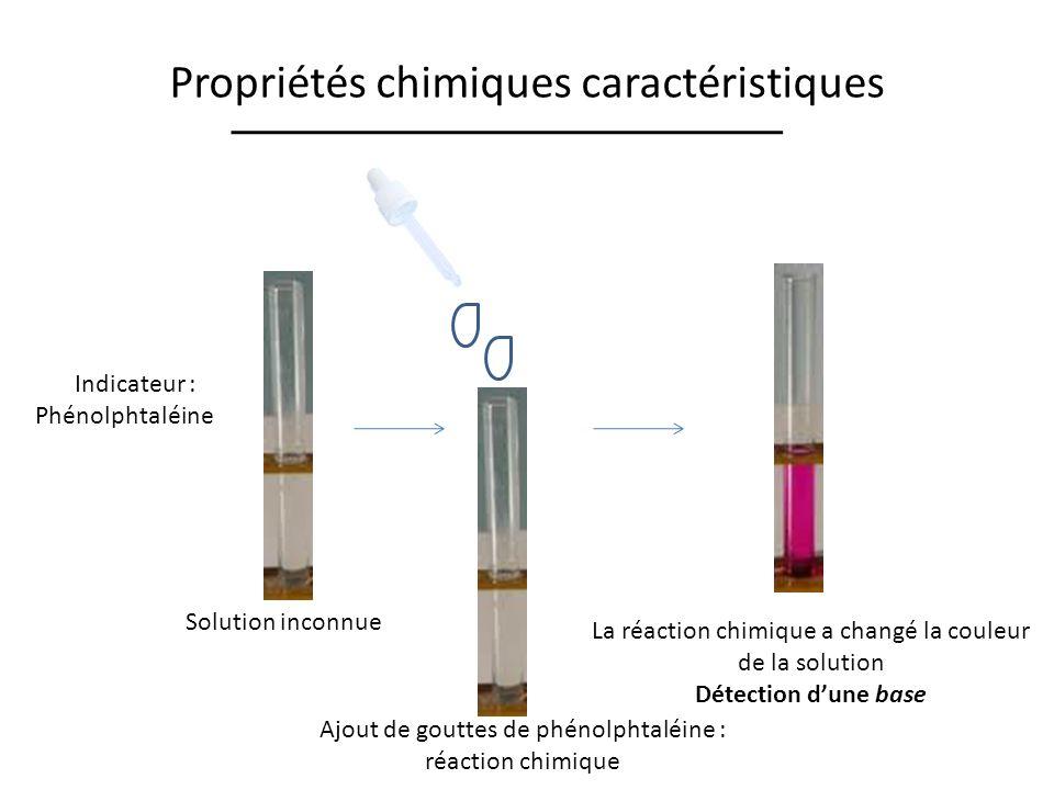 Propriétés chimiques caractéristiques Indicateur : Phénolphtaléine Ajout de gouttes de phénolphtaléine : réaction chimique La réaction chimique a changé la couleur de la solution Détection dune base Solution inconnue