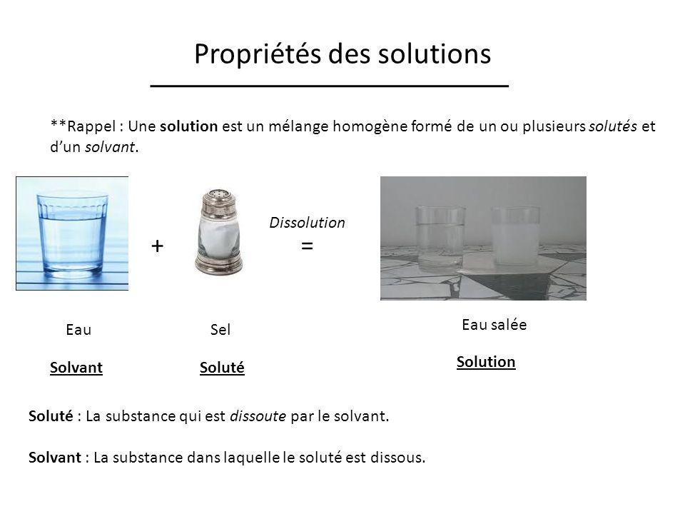 Propriétés des solutions **Rappel : Une solution est un mélange homogène formé de un ou plusieurs solutés et dun solvant.