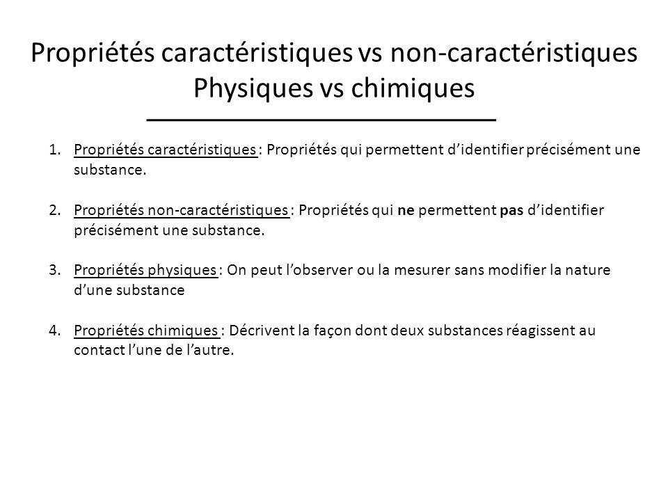 Propriétés caractéristiques vs non-caractéristiques Physiques vs chimiques 1.Propriétés caractéristiques : Propriétés qui permettent didentifier précisément une substance.