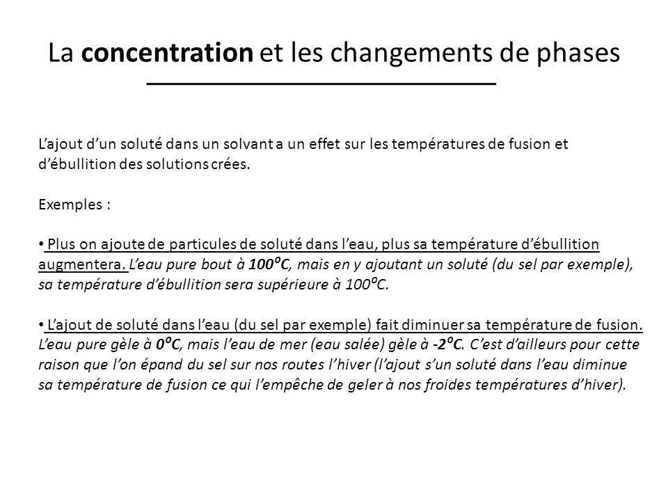 La concentration et les changements de phases Lajout dun soluté dans un solvant a un effet sur les températures de fusion et débullition des solutions crées.
