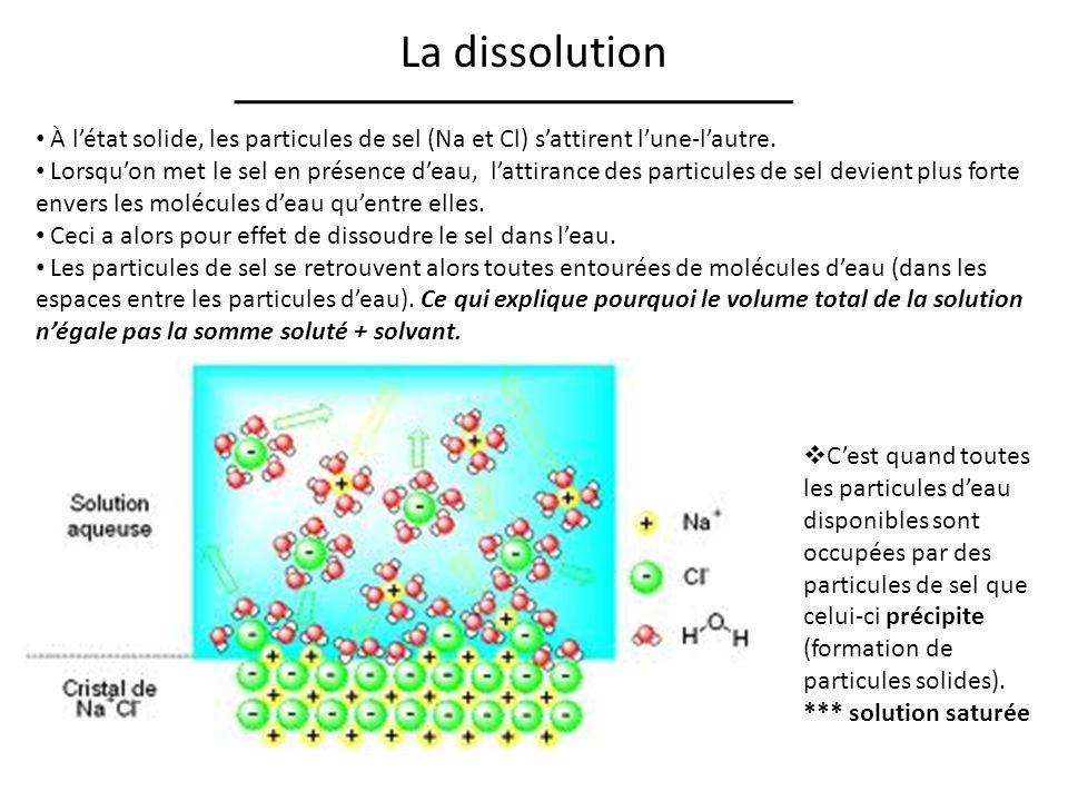 La dissolution À létat solide, les particules de sel (Na et Cl) sattirent lune-lautre.