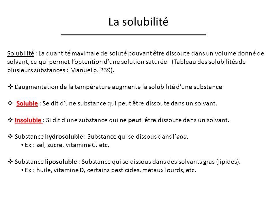 La solubilité Solubilité : La quantité maximale de soluté pouvant être dissoute dans un volume donné de solvant, ce qui permet lobtention dune solution saturée.