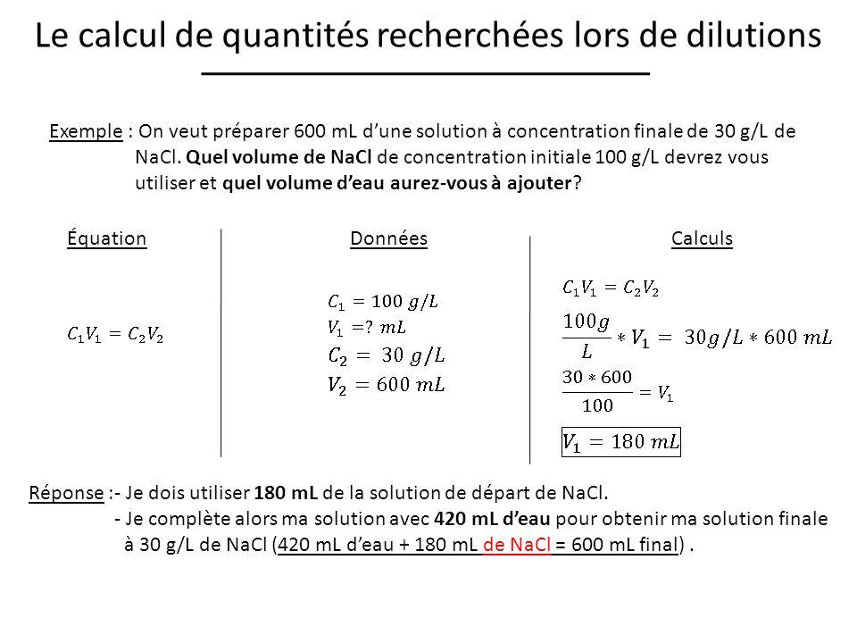 Le calcul de quantités recherchées lors de dilutions Exemple : On veut préparer 600 mL dune solution à concentration finale de 30 g/L de NaCl.