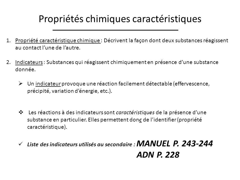 Propriétés chimiques caractéristiques 1.Propriété caractéristique chimique : Décrivent la façon dont deux substances réagissent au contact lune de lautre.
