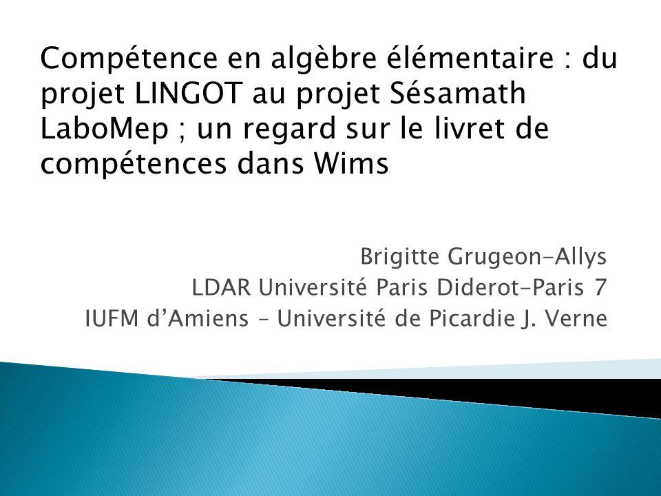 Brigitte Grugeon-Allys LDAR Université Paris Diderot-Paris 7 IUFM dAmiens – Université de Picardie J. Verne Compétence en algèbre élémentaire : du pro