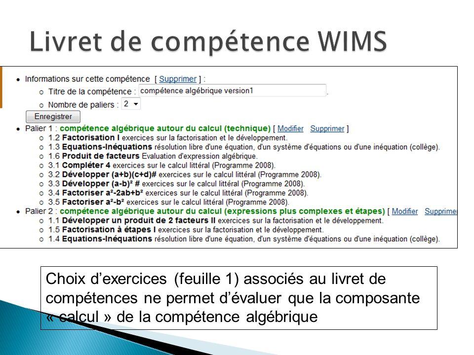 Choix dexercices (feuille 1) associés au livret de compétences ne permet dévaluer que la composante « calcul » de la compétence algébrique