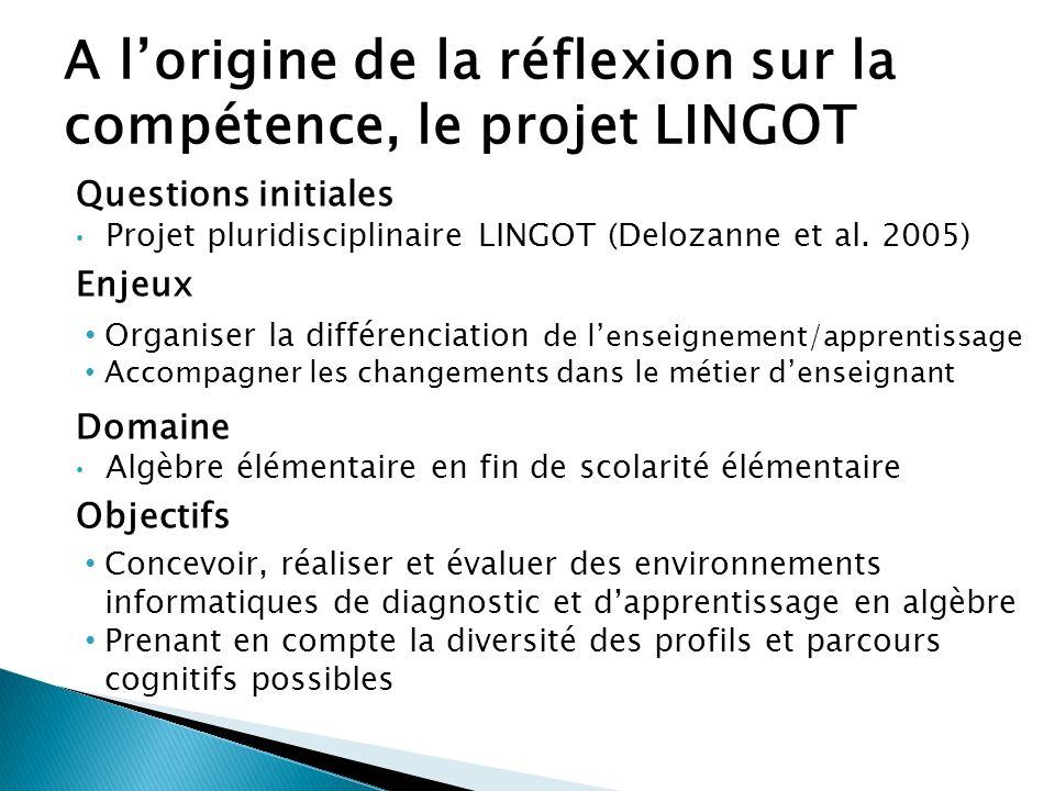 Questions initiales Projet pluridisciplinaire LINGOT (Delozanne et al. 2005) Enjeux Organiser la différenciation de lenseignement/apprentissage Accomp