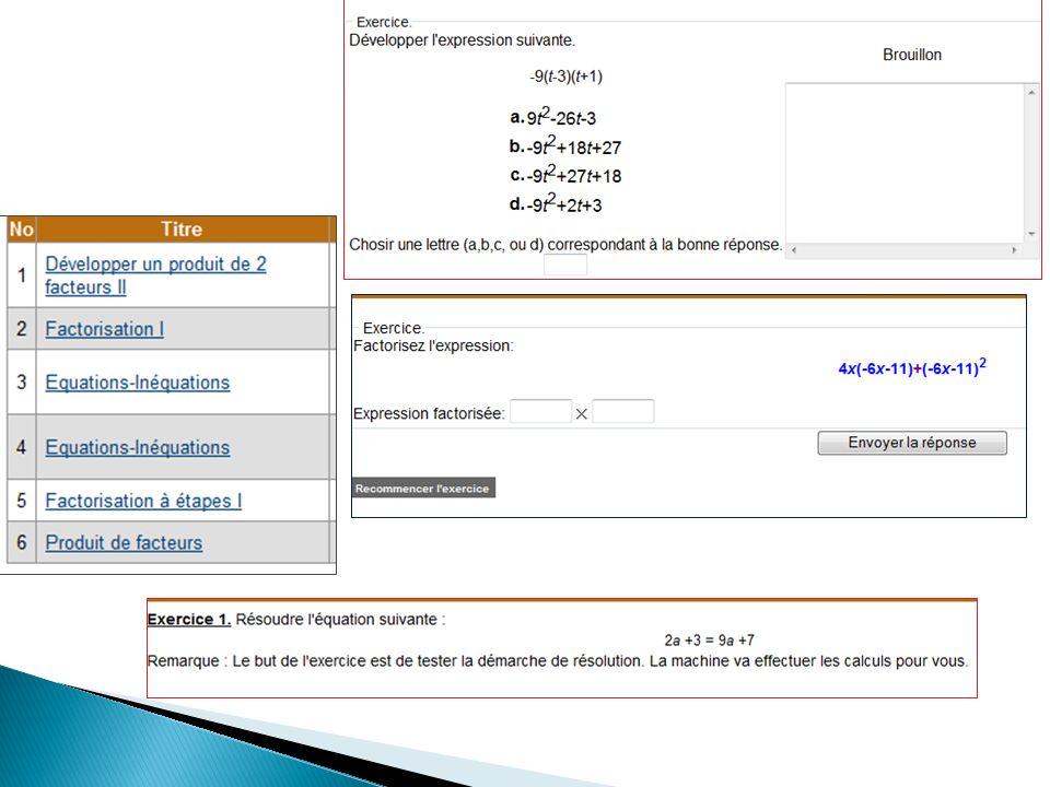 Modèle de lactivité algébrique (Kieran 04) Générative : concerne la formation des objets de lalgèbre dans la dialectique outil / objet Différents types de problèmes : expressions algébriques (nombres généralisés), formules (variables), équations (inconnues) Transformationnelle : concerne lusage de règles de calcul algébrique Développer, factoriser, réduire, résoudre des équations,..