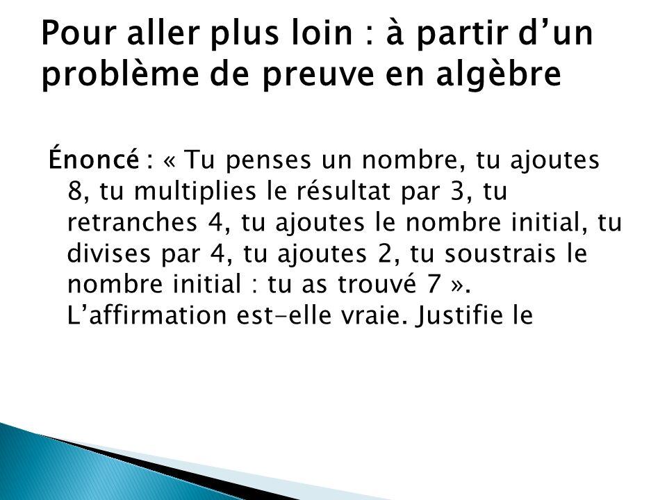 Solution de Éric M : Pour le nombre 1, (1+8)3 = 27- 4 = 23 +1 = 24 / 4 = 6 + 2 = 8 -1 = 7 Solution de Marc : Pour le nombre 2, 2+8 = 10 ; 10 x 3 = 30 ; 30 -4 = 26 ; 26 + 2 = 28 ; 28/4 = 7; 7 + 2 = 9 ; 9 – 2 = 7 Solution de Sandrine B= nombre pensé, S somme 1ère, S somme 2nde, etc.