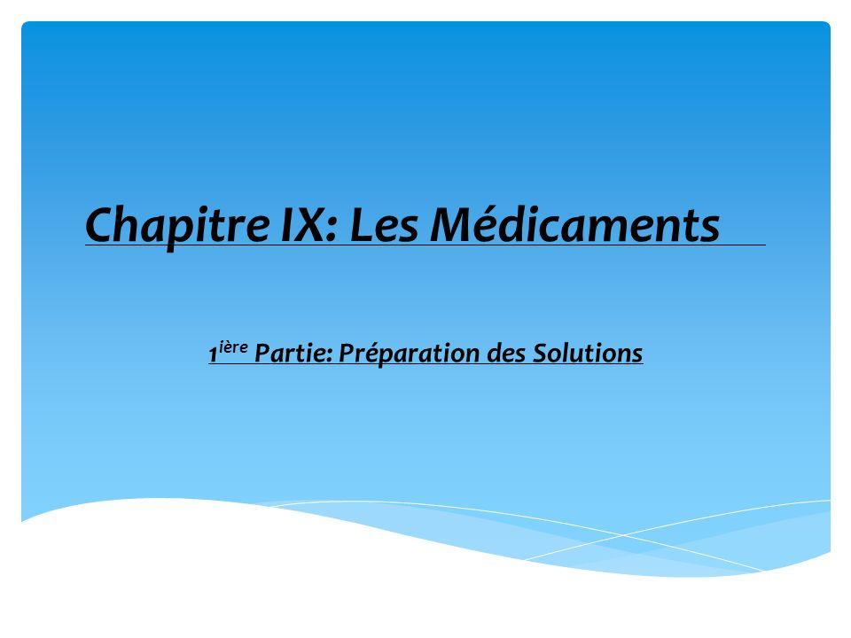 Chapitre IX: Les Médicaments 1 ière Partie: Préparation des Solutions