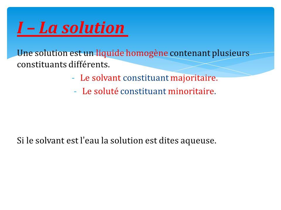 Une solution est un liquide homogène contenant plusieurs constituants différents. -Le solvant constituant majoritaire. -Le soluté constituant minorita