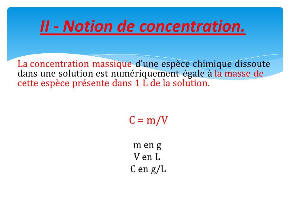 La concentration massique dune espèce chimique dissoute dans une solution est numériquement égale à la masse de cette espèce présente dans 1 L de la s