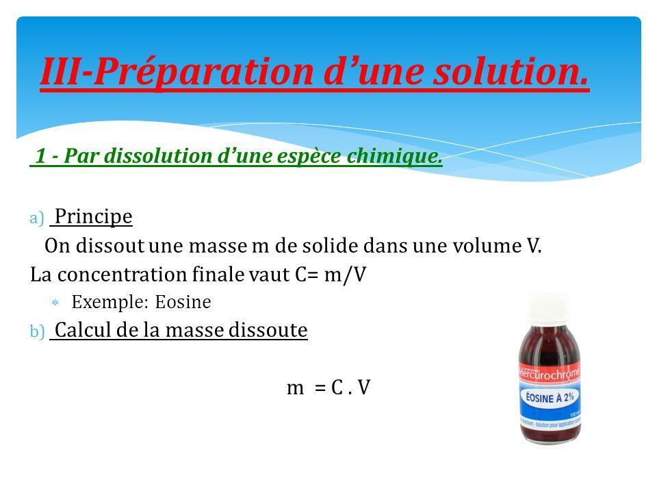 1 - Par dissolution dune espèce chimique. a) Principe On dissout une masse m de solide dans une volume V. La concentration finale vaut C= m/V Exemple: