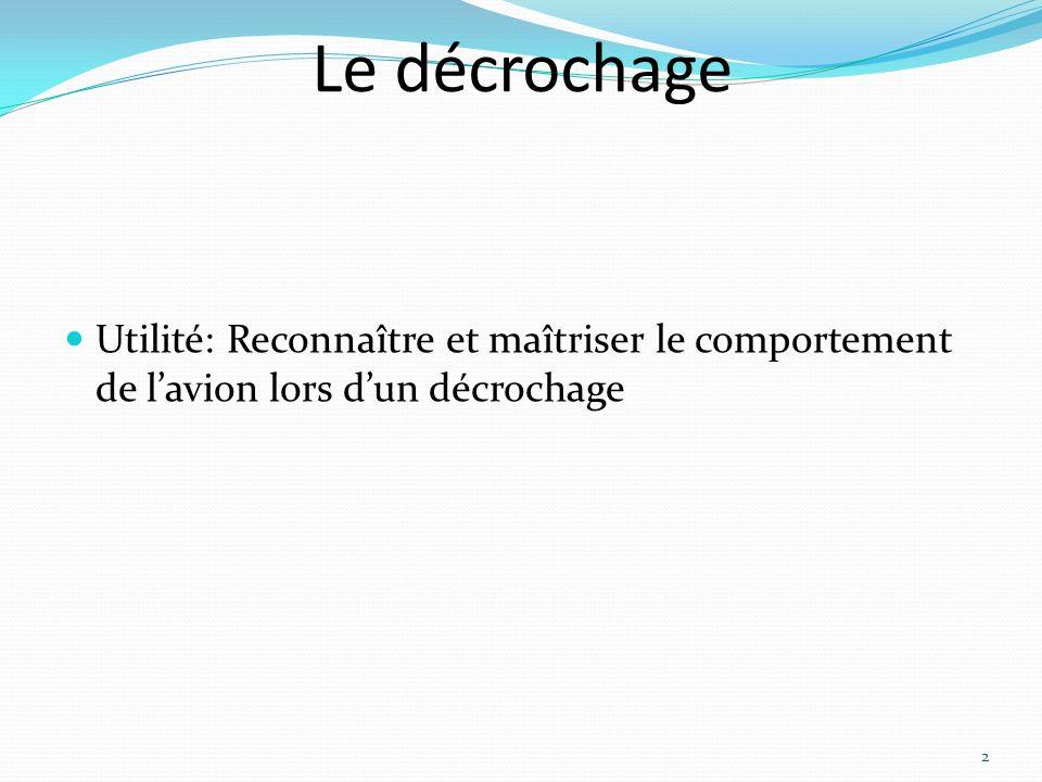 Le décrochage Utilité: Reconnaître et maîtriser le comportement de lavion lors dun décrochage 2
