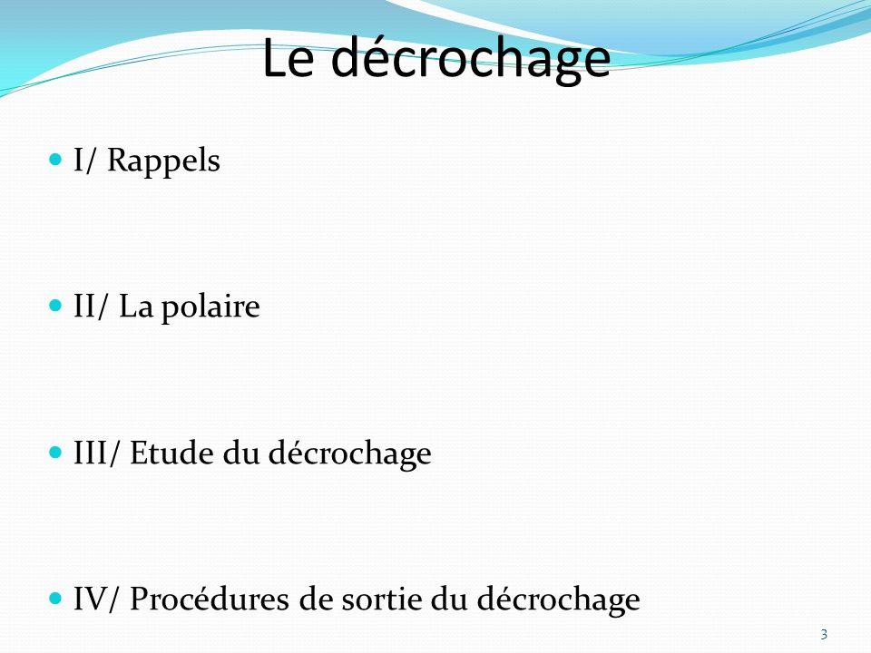 Le décrochage I/ Rappels II/ La polaire III/ Etude du décrochage IV/ Procédures de sortie du décrochage 3