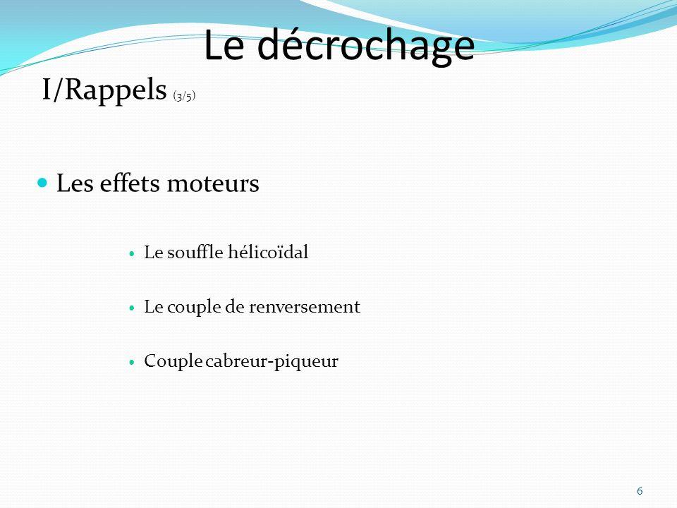 Le décrochage Les effets moteurs Le souffle hélicoïdal Le couple de renversement Couple cabreur-piqueur 6 I/Rappels (3/5)