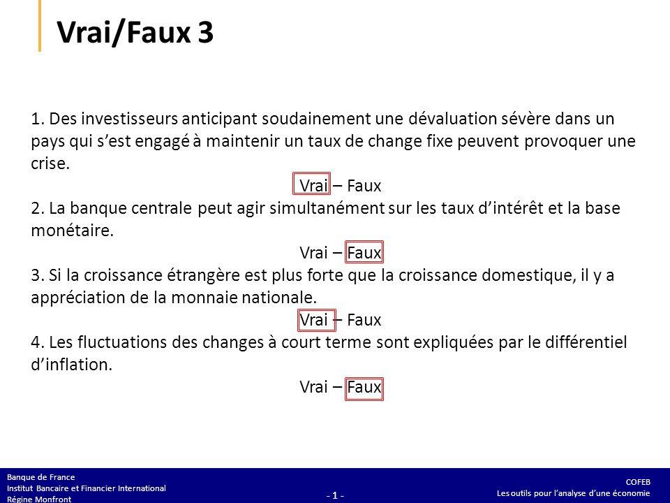 COFEB Les outils pour lanalyse dune économie Banque de France Institut Bancaire et Financier International Régine Monfront - 1 - Vrai/Faux 3 1. Des in