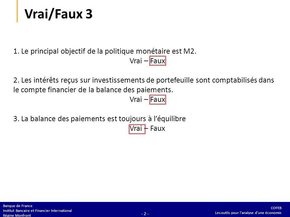 COFEB Les outils pour lanalyse dune économie Banque de France Institut Bancaire et Financier International Régine Monfront - 2 - Vrai/Faux 3 1. Le pri