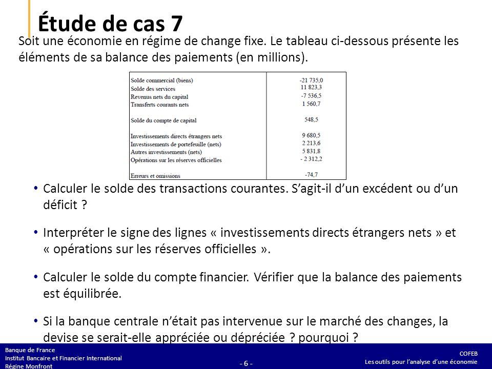 COFEB Les outils pour lanalyse dune économie Banque de France Institut Bancaire et Financier International Régine Monfront - 6 - Étude de cas 7 Soit u