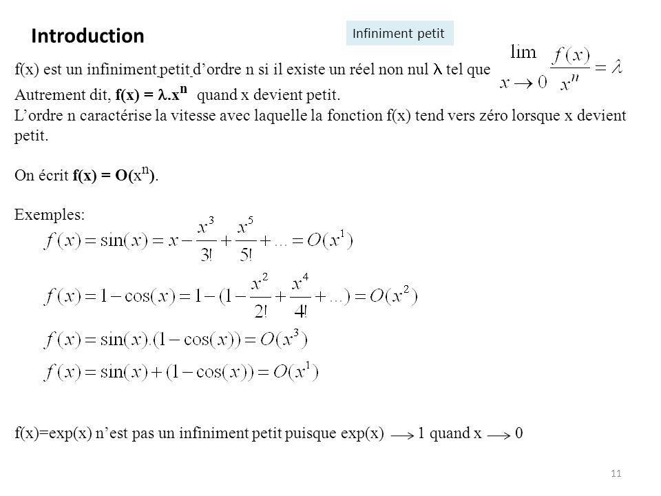 11 f(x) est un infiniment petit dordre n si il existe un réel non nul tel que Autrement dit, f(x) =.x n quand x devient petit. Lordre n caractérise la